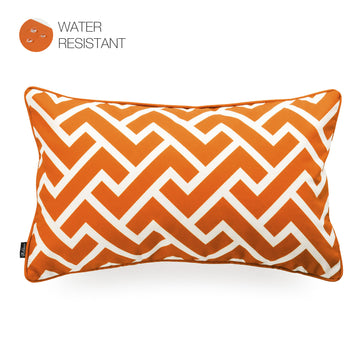 Hofdeco Orange Outdoor Lumbar Pillow Cover, City Maze, 12