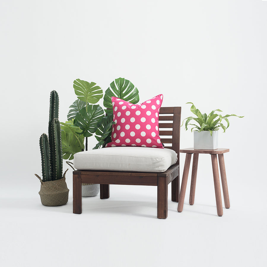 Hot Pink Outdoor Pillow Cover, Dots, 18