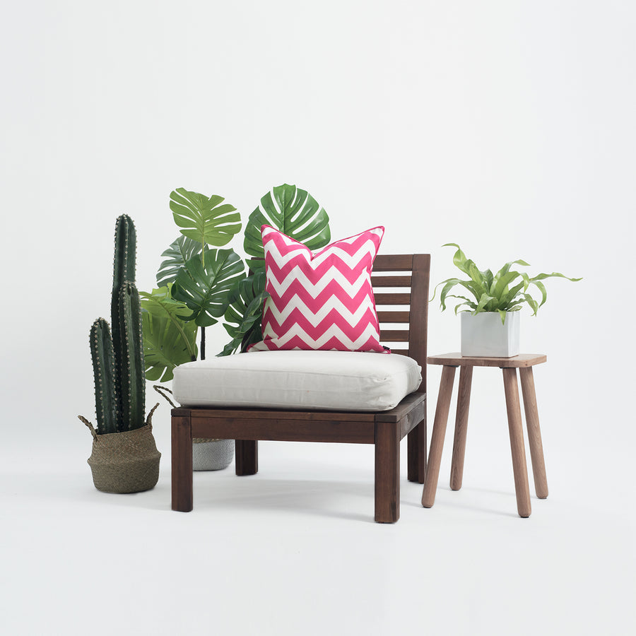 Hot Pink Outdoor Pillow Cover, Chevron, 18