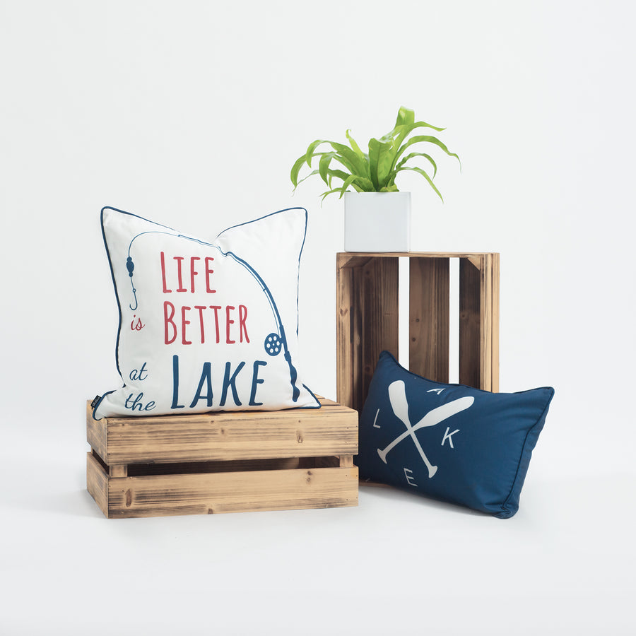 Lake House Outdoor Pillow Cover, Life Better At The Lake, Navy, 18