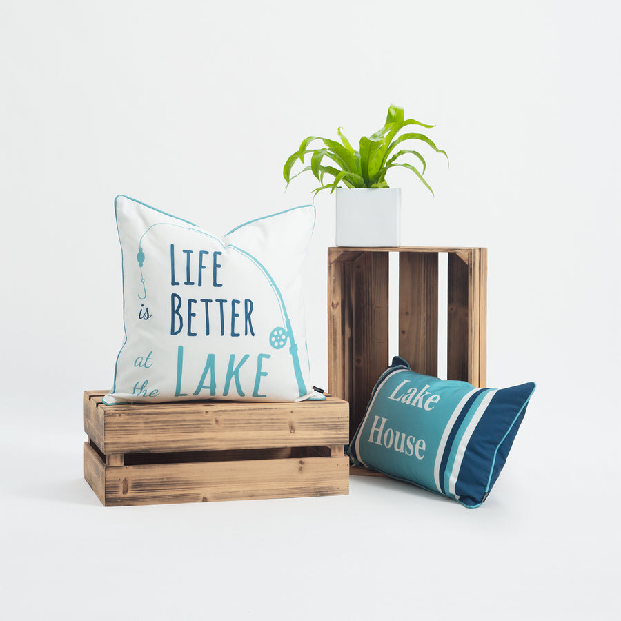 Lake House Outdoor Pillow Cover, Life Better At The Lake, Aqua, 18