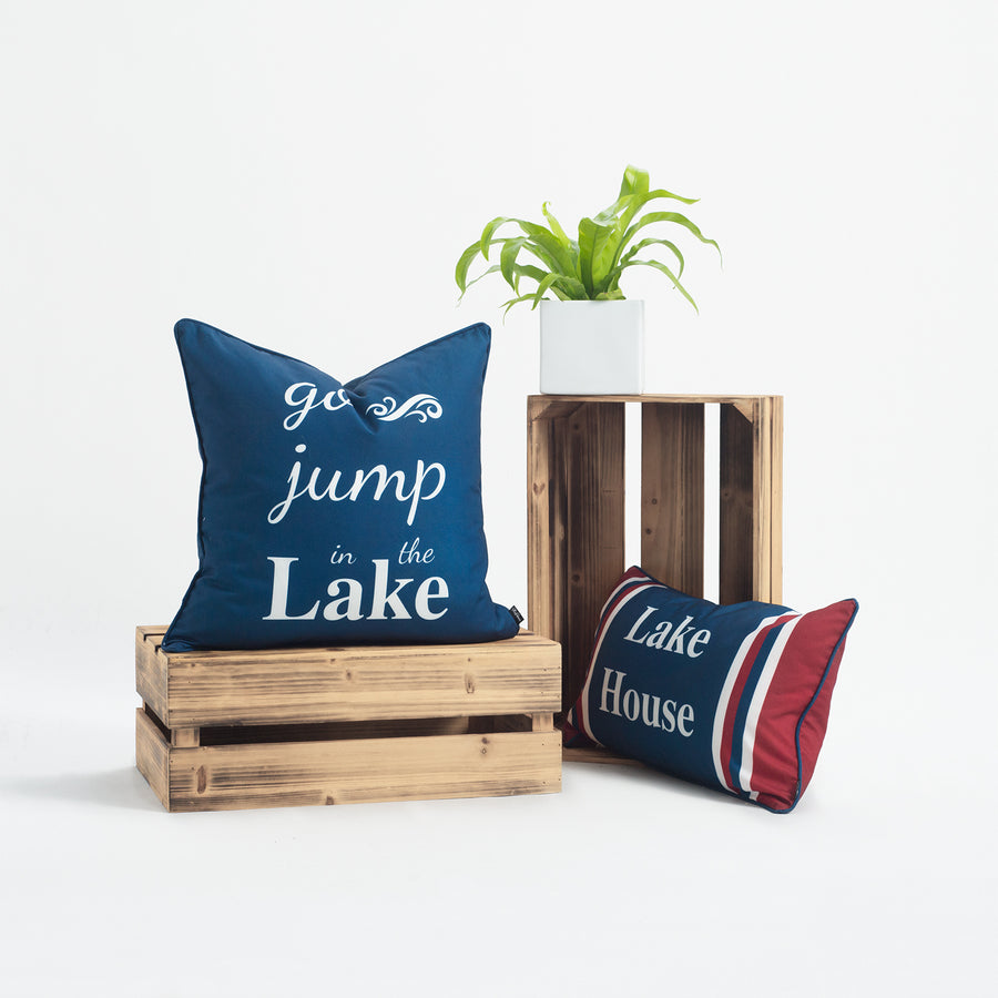 Lake House Outdoor Pillow Cover, Go Jump In the Lake, Navy Blue, 18