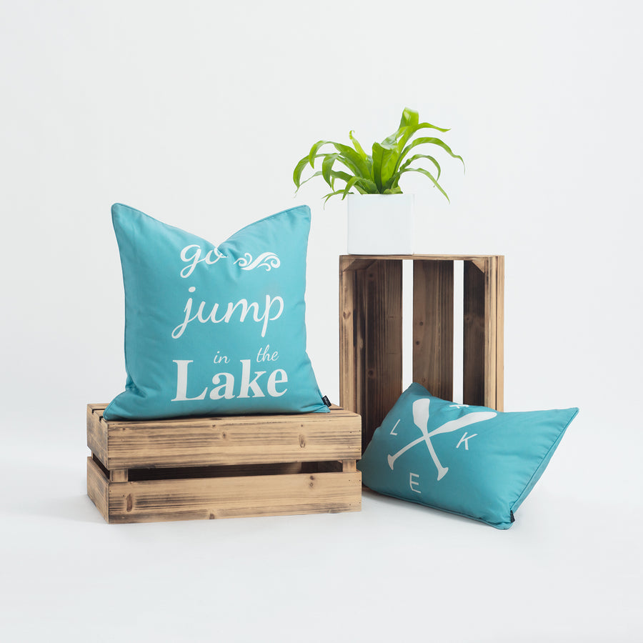 Lake House Outdoor Pillow Cover, Go Jump In the Lake, Aqua, 18