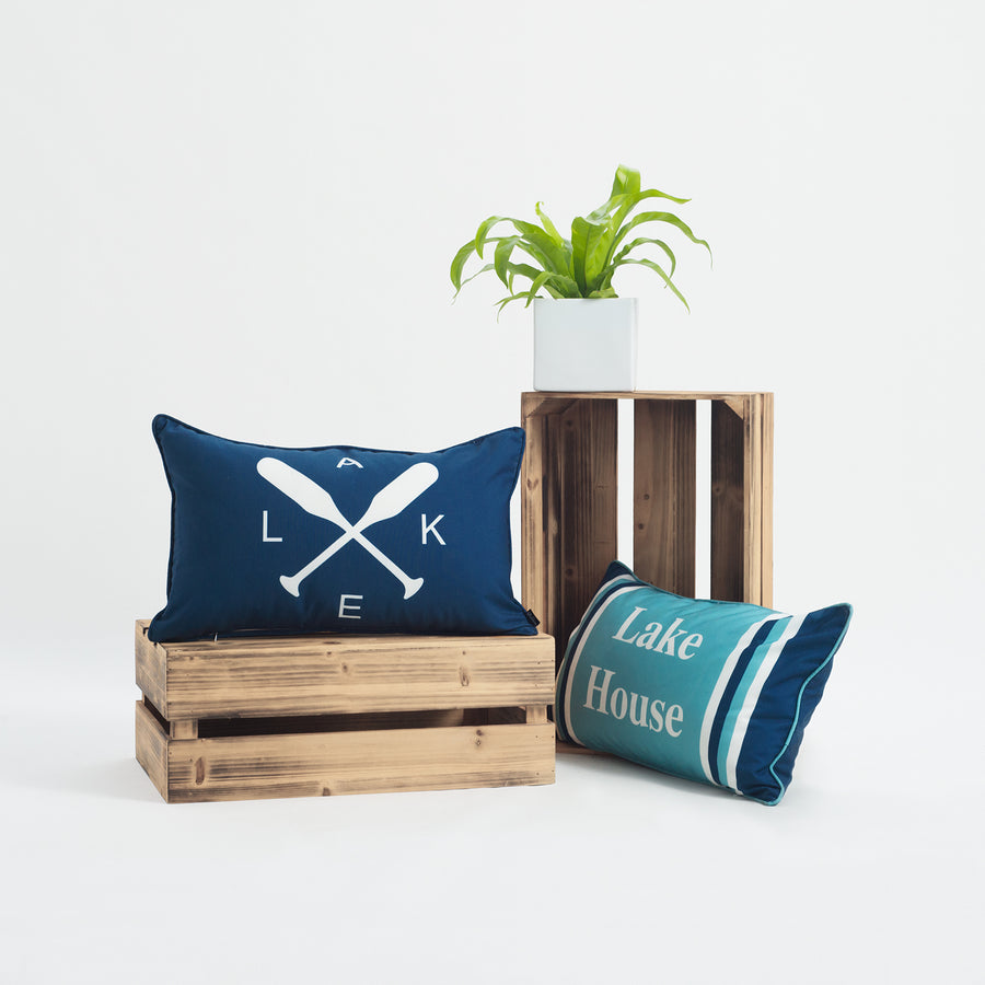Lake House Outdoor Lumbar Pillow Cover, Paddle, Navy Blue, 12