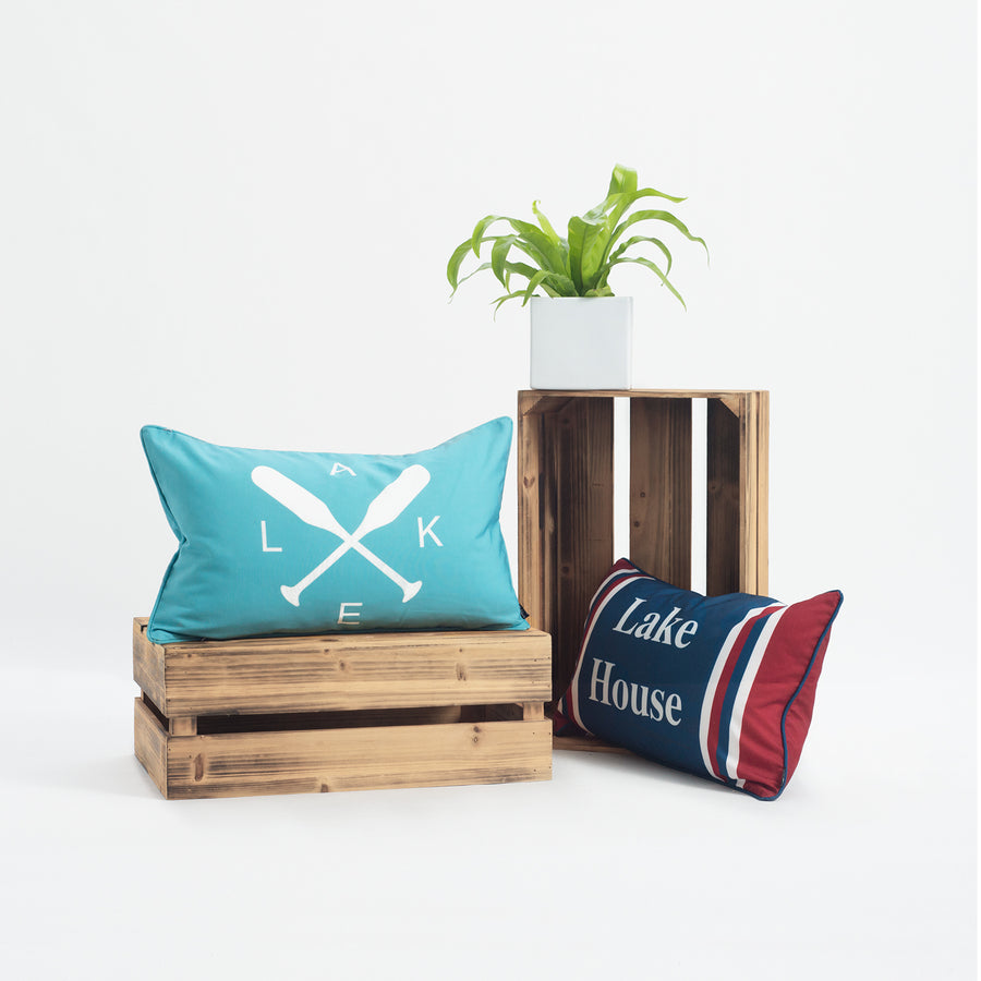 Lake House Outdoor Lumbar Pillow Cover, Paddle, Aqua, 12