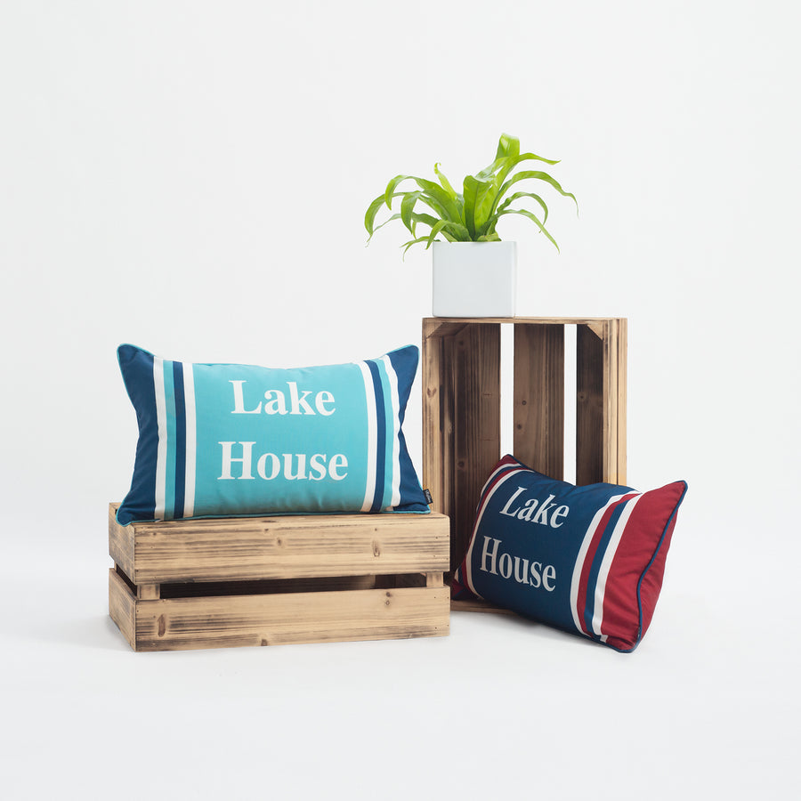 Lake House Outdoor Lumbar Pillow Cover, Stripes, Navy Aqua, 12