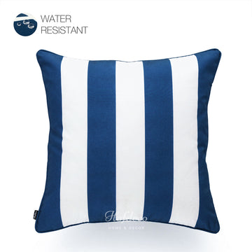 Nautical Outdoor Pillow Cover, Stripes, Navy Blue, 18