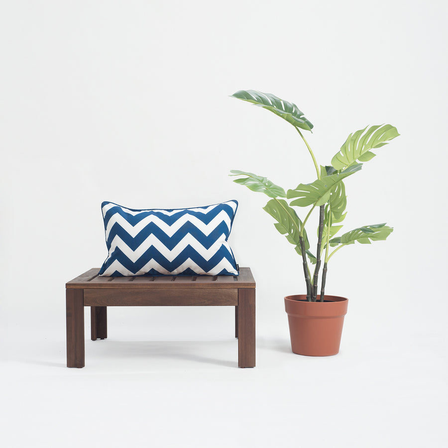 Navy Blue Outdoor Lumbar Pillow Cover, Chevron, 12