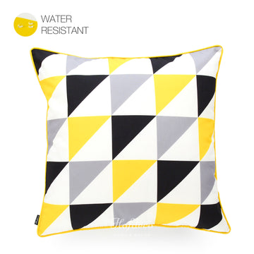 Hofdeco Vivid Yellow Grey Black Triangle Outdoor Throw Pillow Cover 18
