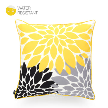 Hofdeco Vivid Yellow Grey Black Blooming Flower Outdoor Throw Pillow Cover 18