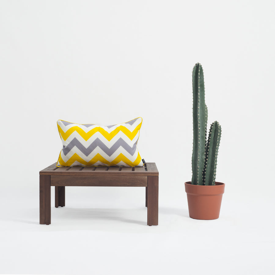 Yellow Gray Outdoor Lumbar Pillow Cover, Chevron, 12