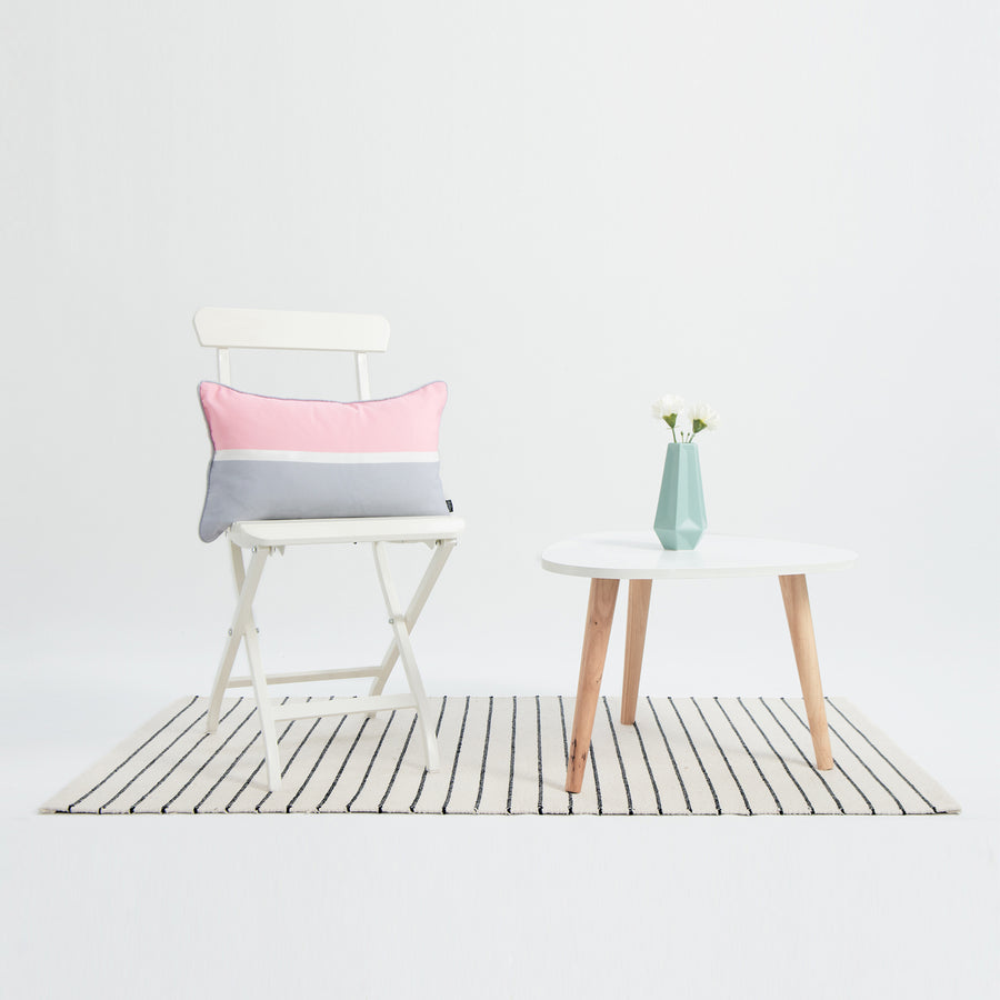 Color Block Outdoor Lumbar Pillow Cover, Stripes, Pastel Pink and Gray, 12