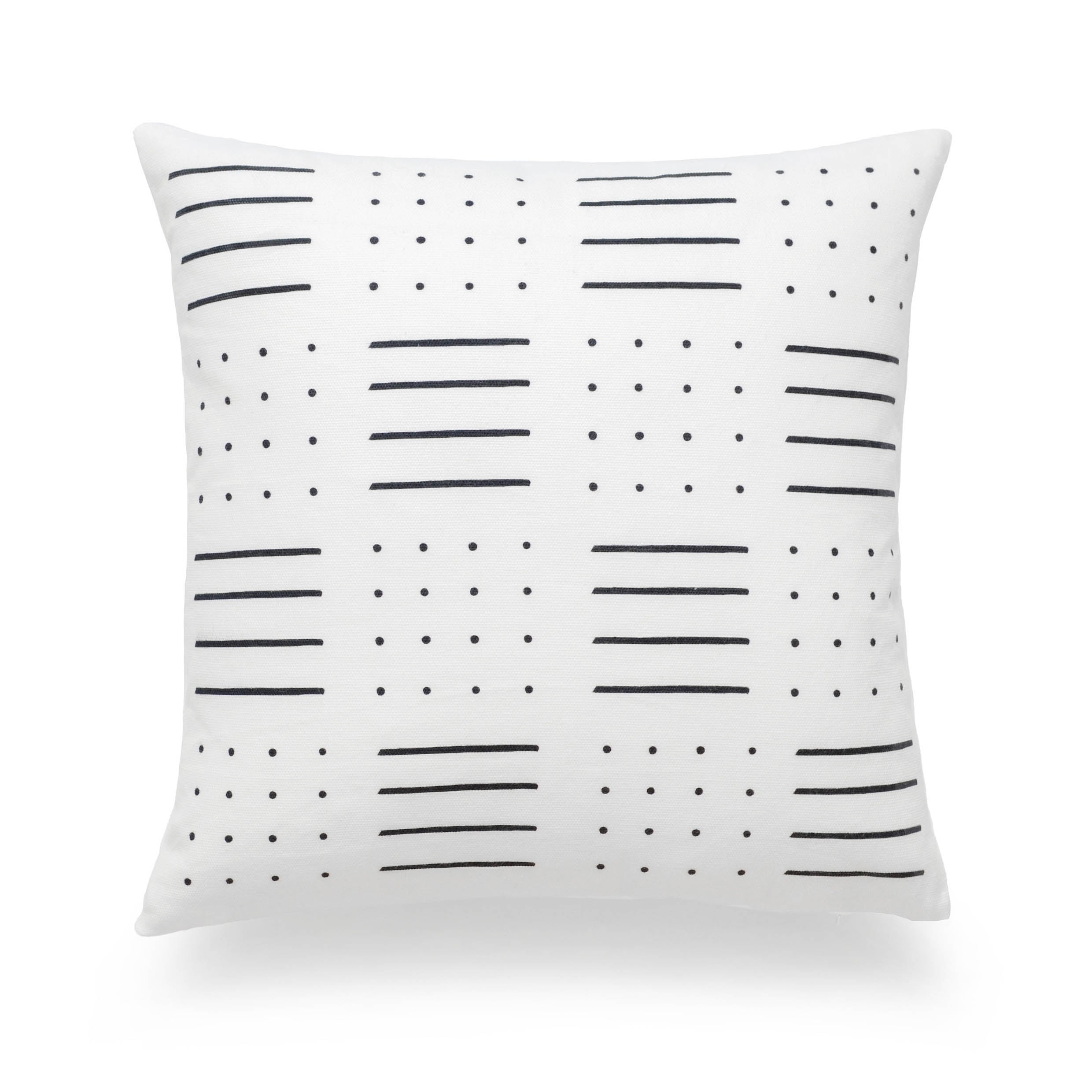 """African Mud Cloth Pillow Cover, Dots And Dashes, Black And White, 18""""x18"""""""