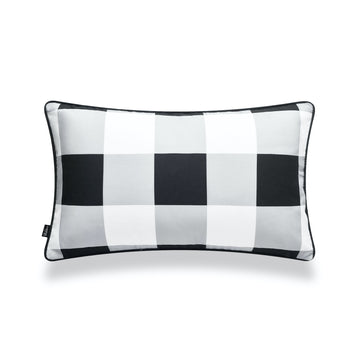 Classic Lumbar Pillow Cover, Buffalo Check, Black, 12