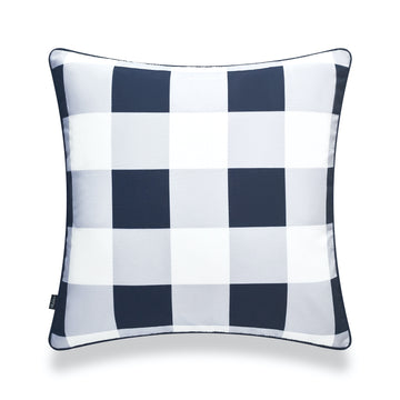 Coastal Pillow Cover, Buffalo Check, Navy Blue, 20