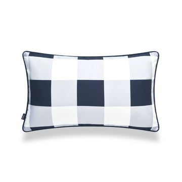 Coastal Lumbar Pillow Cover, Buffalo Check, Navy Blue, 12