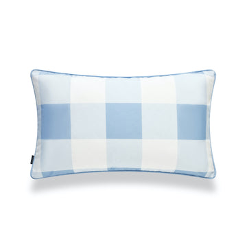 Coastal Lumbar Pillow Cover, Buffalo Check, Baby Blue, 12