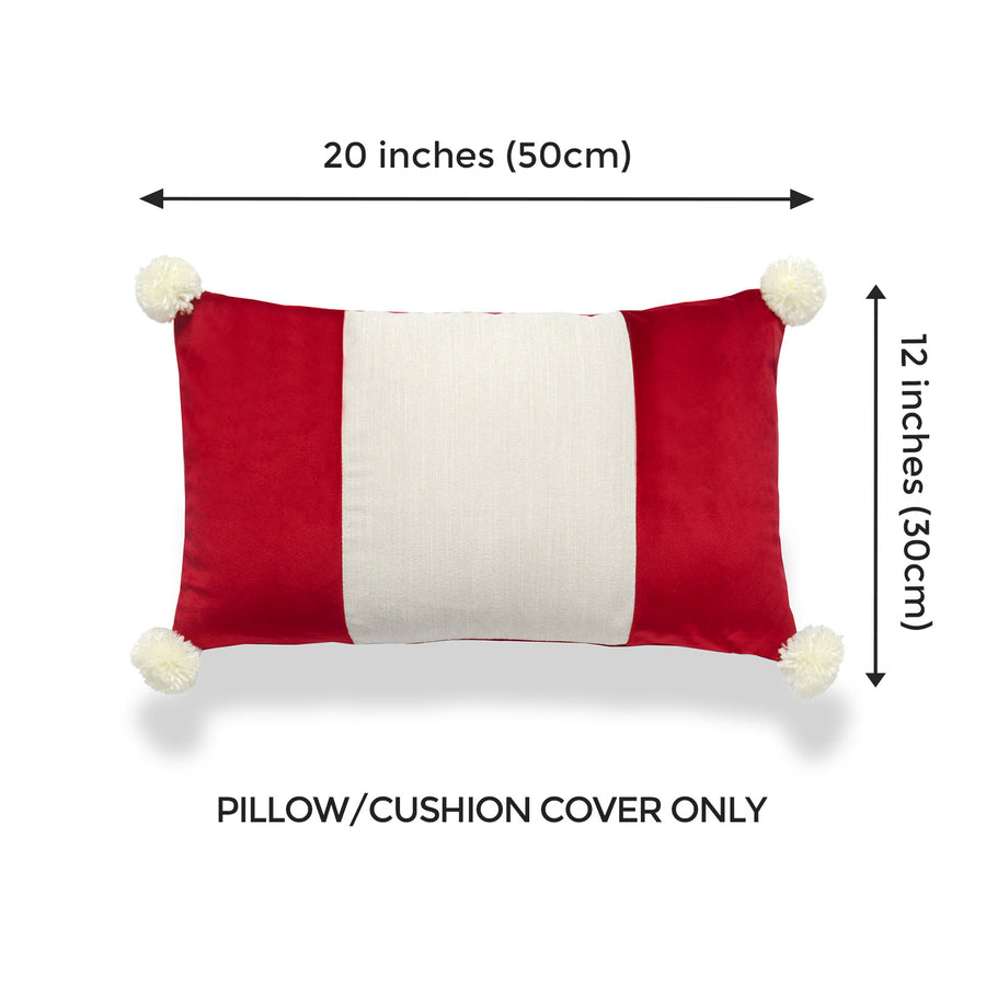 red pillow with tassels