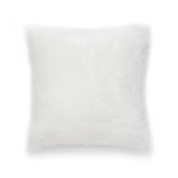 Winter Pillow Cover, Faux Fur, White, 18