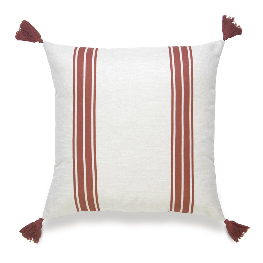 Fall Pillow Cover, Aviv, Striped Tassel, Orange, 20
