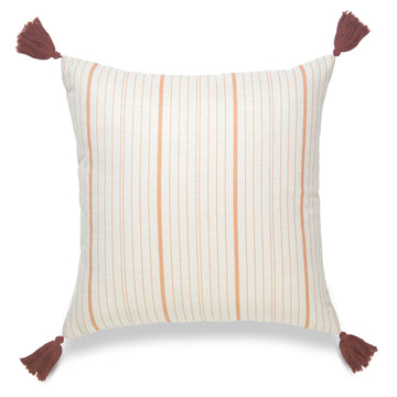 Fall Pillow Cover, Missi, Stripe Tassel, Orange, 18