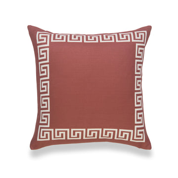 Fall Pillow Cover, Helicon, Greek Key, Orange, 18
