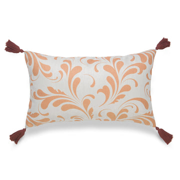 Fall Lumbar Pillow Cover, Essa, Floral, Orange, 12