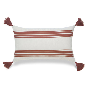 Fall Lumbar Pillow Cover, Aviv, Stripe Tassel, Orange, 12