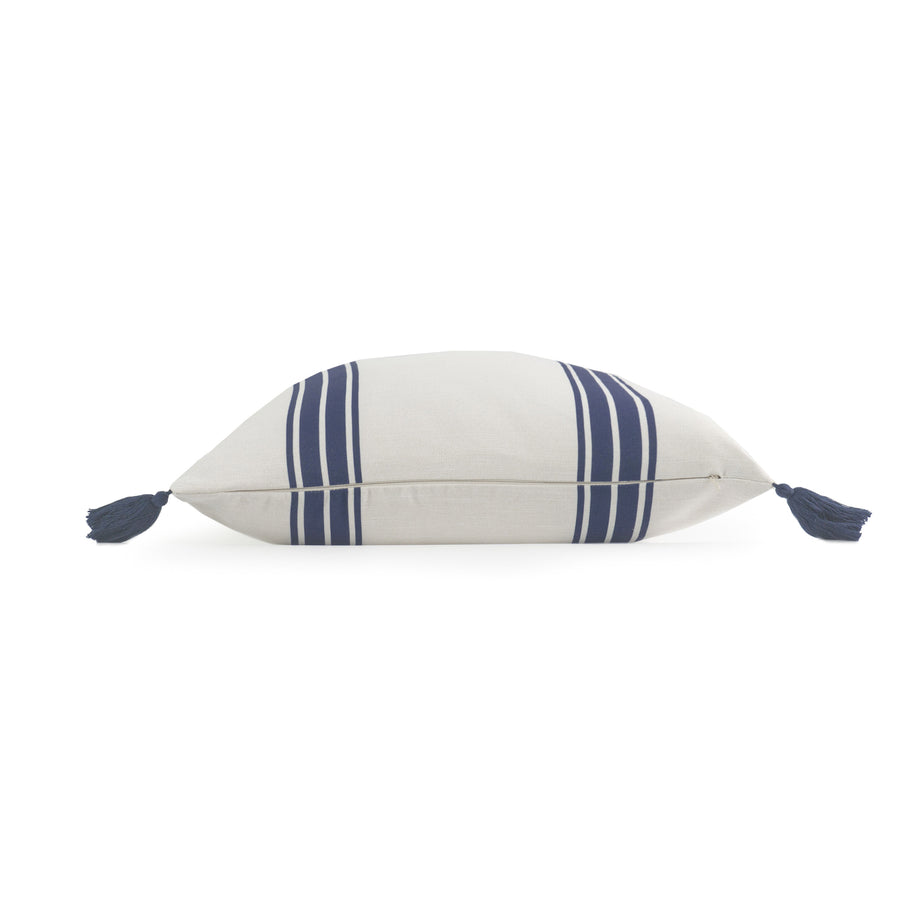 Coastal Pillow Cover, Aviv, Striped Tassel, Navy Blue, 20