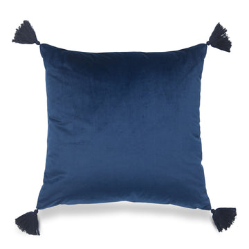 Coastal Pillow Cover, Gaea, Solid Tassel, Navy Blue, 20