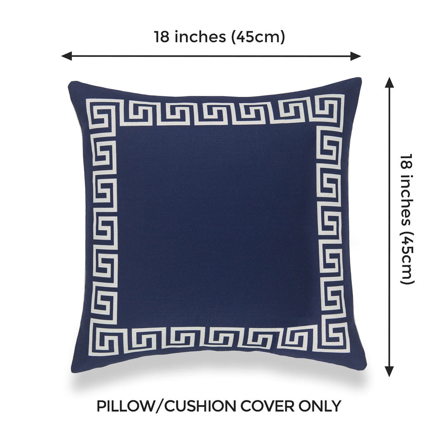 Coastal Pillow Cover, Helicon, Greek Key, Navy Blue, 18