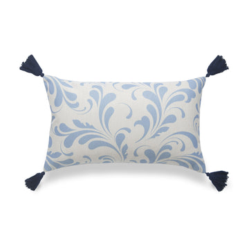 Coastal Lumbar Pillow Cover, Essa, Floral, Sky Blue, 12