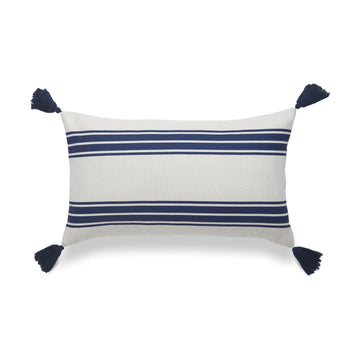 Coastal Lumbar Pillow Cover, Aviv, Stripe Tassel, Navy Blue, 12