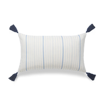 Coastal Lumbar Pillow Cover, Missi, Stripe Tassel, Sky Blue, 12