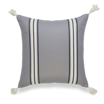 Neutral Pillow Cover, Aviv, Striped Tassel, Dark Gray, 20