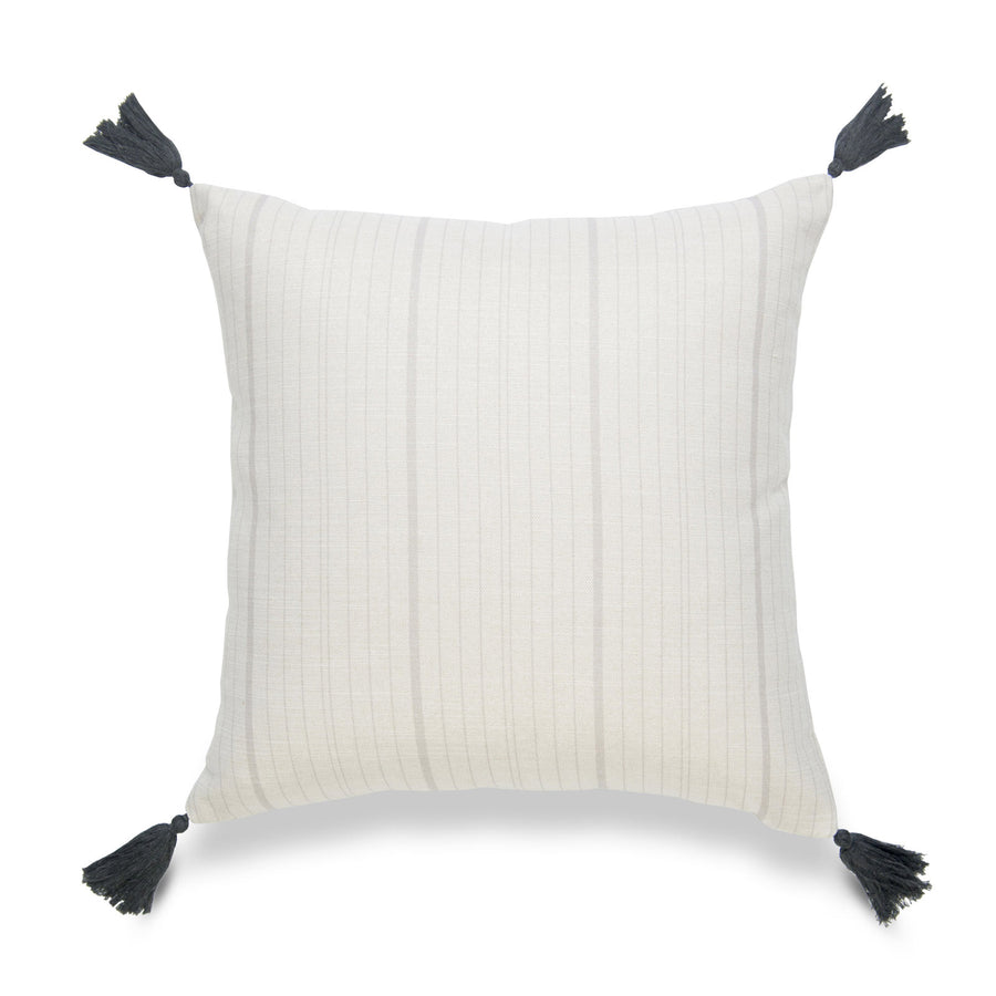 Neutral Pillow Cover, Missi, Stripe Tassel, Gray, 18