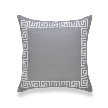 Neutral Pillow Cover, Helicon, Greek Key, Dark Gray, 18