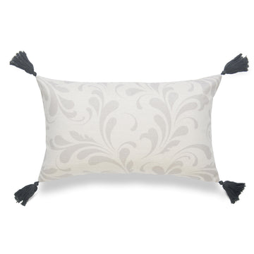 Neutral Lumbar Pillow Cover, Essa, Floral Tassels, Gray, 12