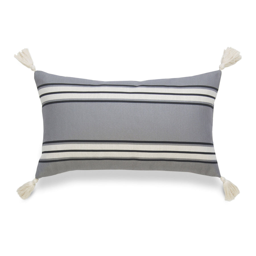 Neutral Lumbar Pillow Cover, Aviv, Stripe Tassel, Dark Gray, 12