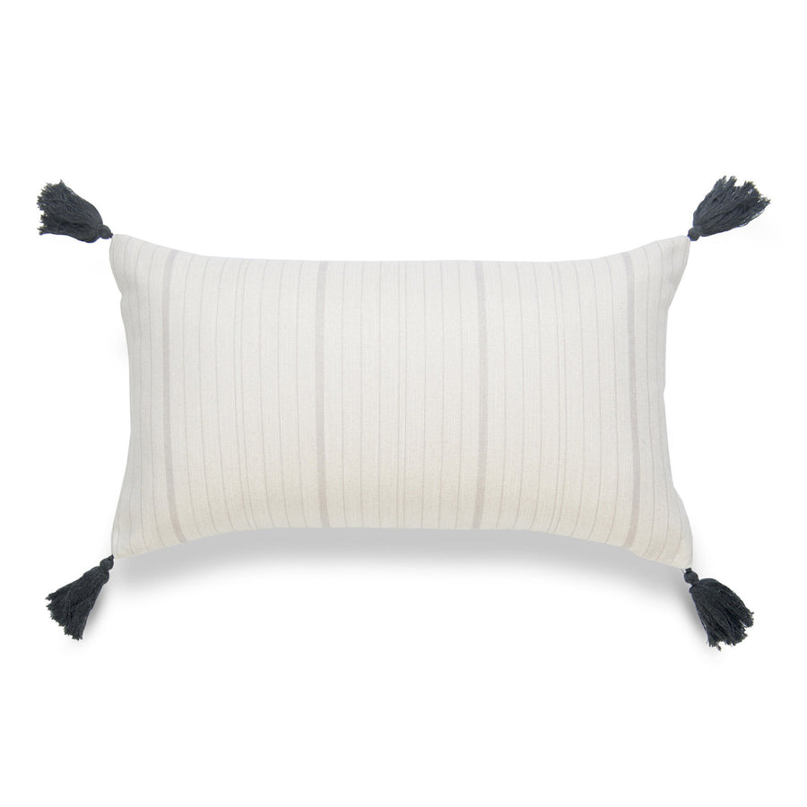 Neutral Lumbar Pillow Cover, Missi, Stripe Tassel, Gray, 12