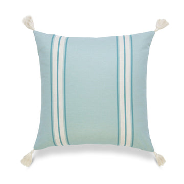 Coastal Pillow Cover, Aviv, Striped Tassel, Aqua Turquoise, 20
