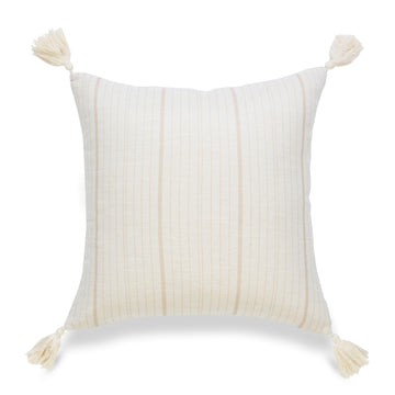 Coastal Pillow Cover, Missi, Stripe Tassel, Camel Sand, 18