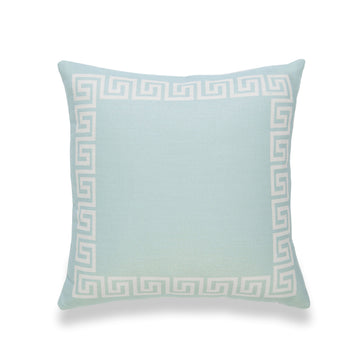 Coastal Pillow Cover, Helicon, Greek Key, Aqua Turquoise, 18