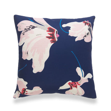Spring Pillow Cover, Floral, Navy Blue Pink, 18