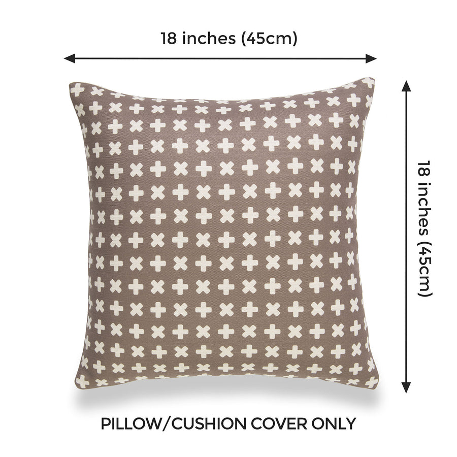 Modern Boho Pillow Cover, Brown, X Dots, 18