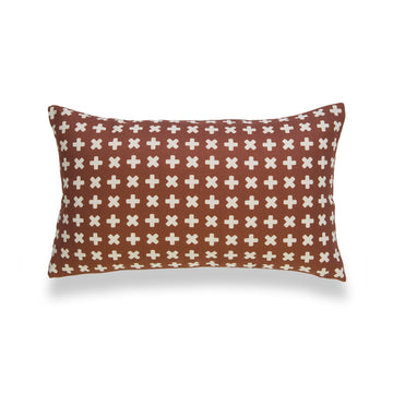Modern Boho Lumbar Pillow Covers, Rust, X Dots, 12