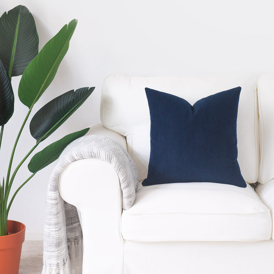 Modern Pillow Cover, Corduroy, Navy Blue, 18