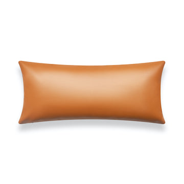 Modern Boho Lumbar Pillow Cover, Vegan Leather, Brown, 12