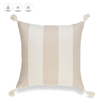 Beach Coastal Outdoor Pillow Cover, Malta, Striped Tassel, Camel Sand, 20