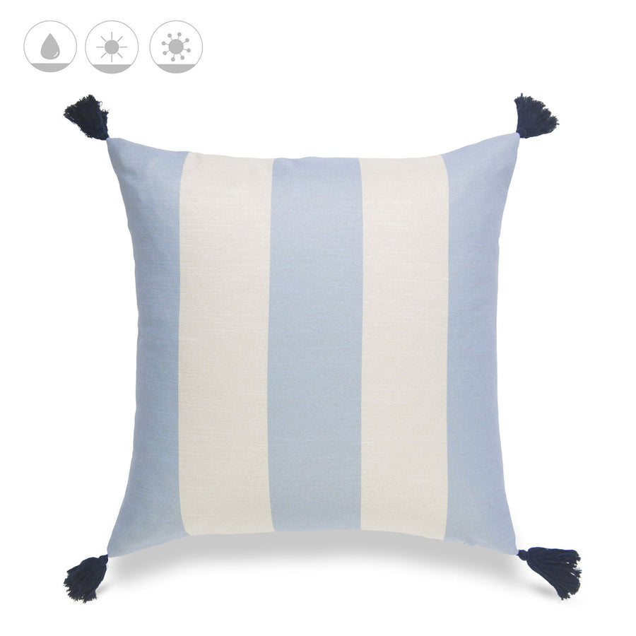 Beach Coastal Pillow Cover, Malta, Striped Tassel, Sky Blue, 20